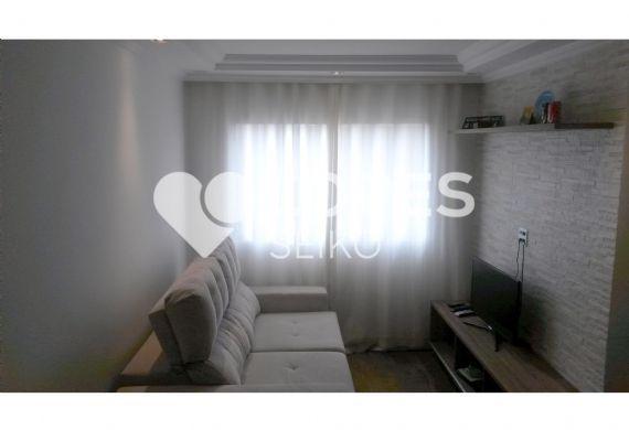 Jabaquara, Apartamento Padrão - Sala com dois ambientes, piso de cerâmica e teto com sanca de gesso e iluminação embutida