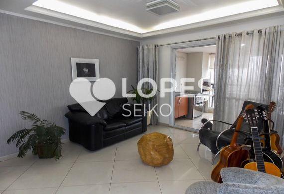 Jabaquara, Apartamento Padrão - Sala em L com dois ambientes, piso de porcelanato, teto com sanca de gesso com iluminação interna e acesso à varanda