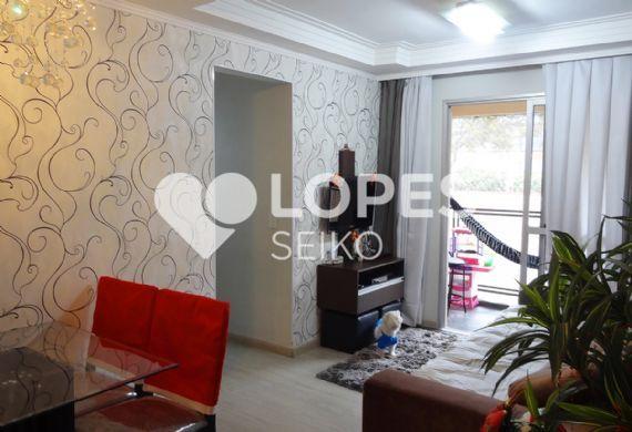 Sacomã, Apartamento Padrão - Sala em L com dois ambientes, piso laminado, teto com sanca de gesso fechada, cortineiro e acesso à varanda