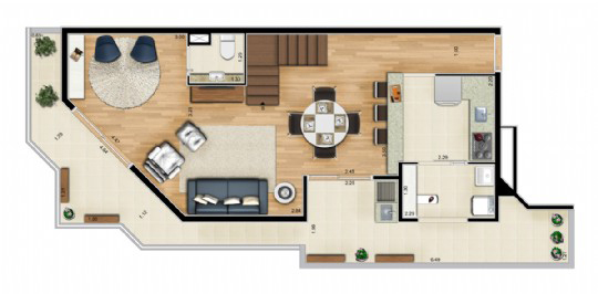 Ipiranga, Apartamento Padrão-Dluplex - Andar inferior.