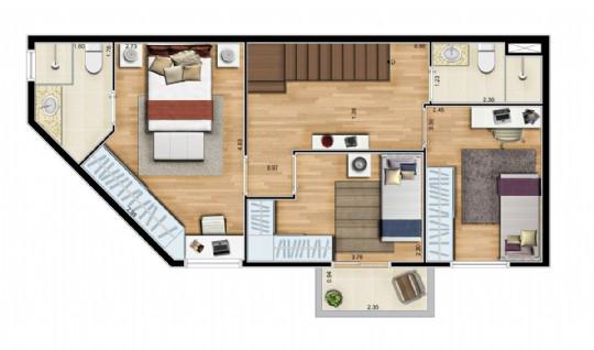 Ipiranga, Apartamento Padrão-Dluplex - Andar superior.