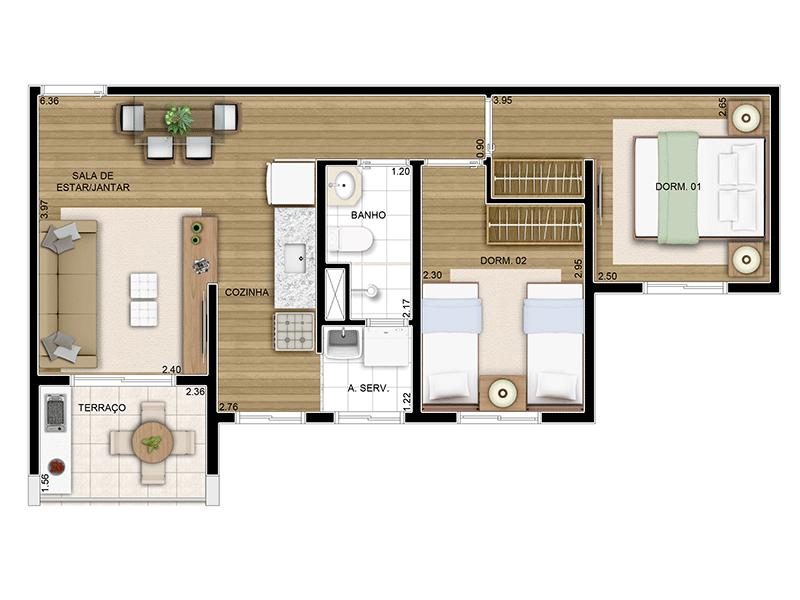 Sacomã, Apartamento Padrão-Planta 49 m�
