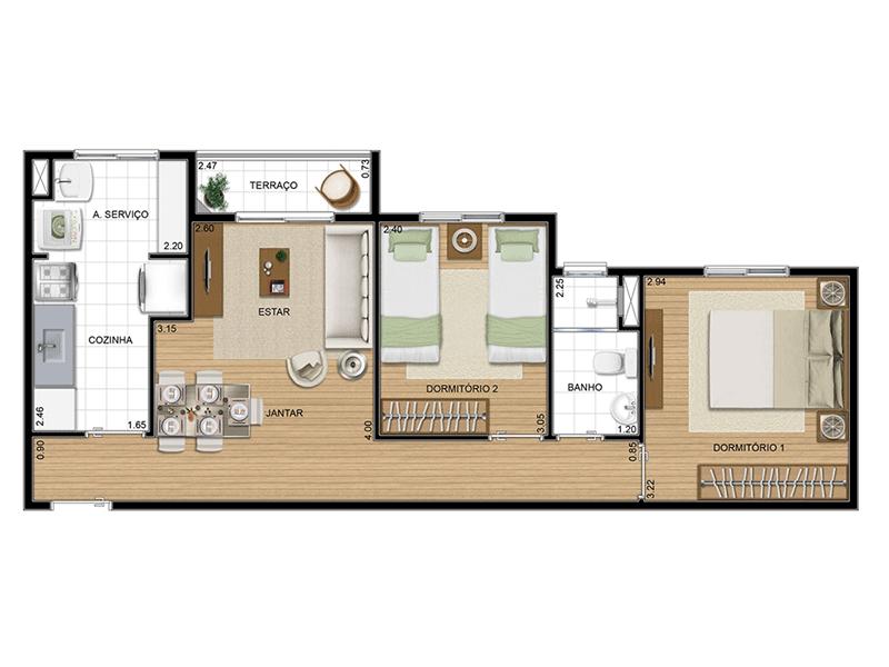 Sacomã, Apartamento Padrão-Planta 52 m�