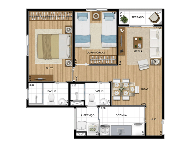 Sacomã, Apartamento Padrão-Planta 53 m�