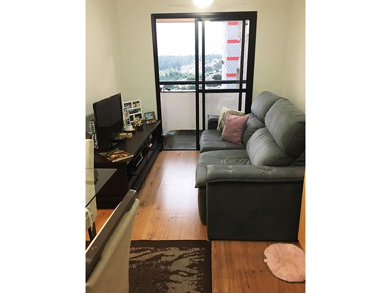 Jabaquara, Apartamento Padrão - Sala em L com dois ambientes, piso laminado, teto com moldura de gesso.