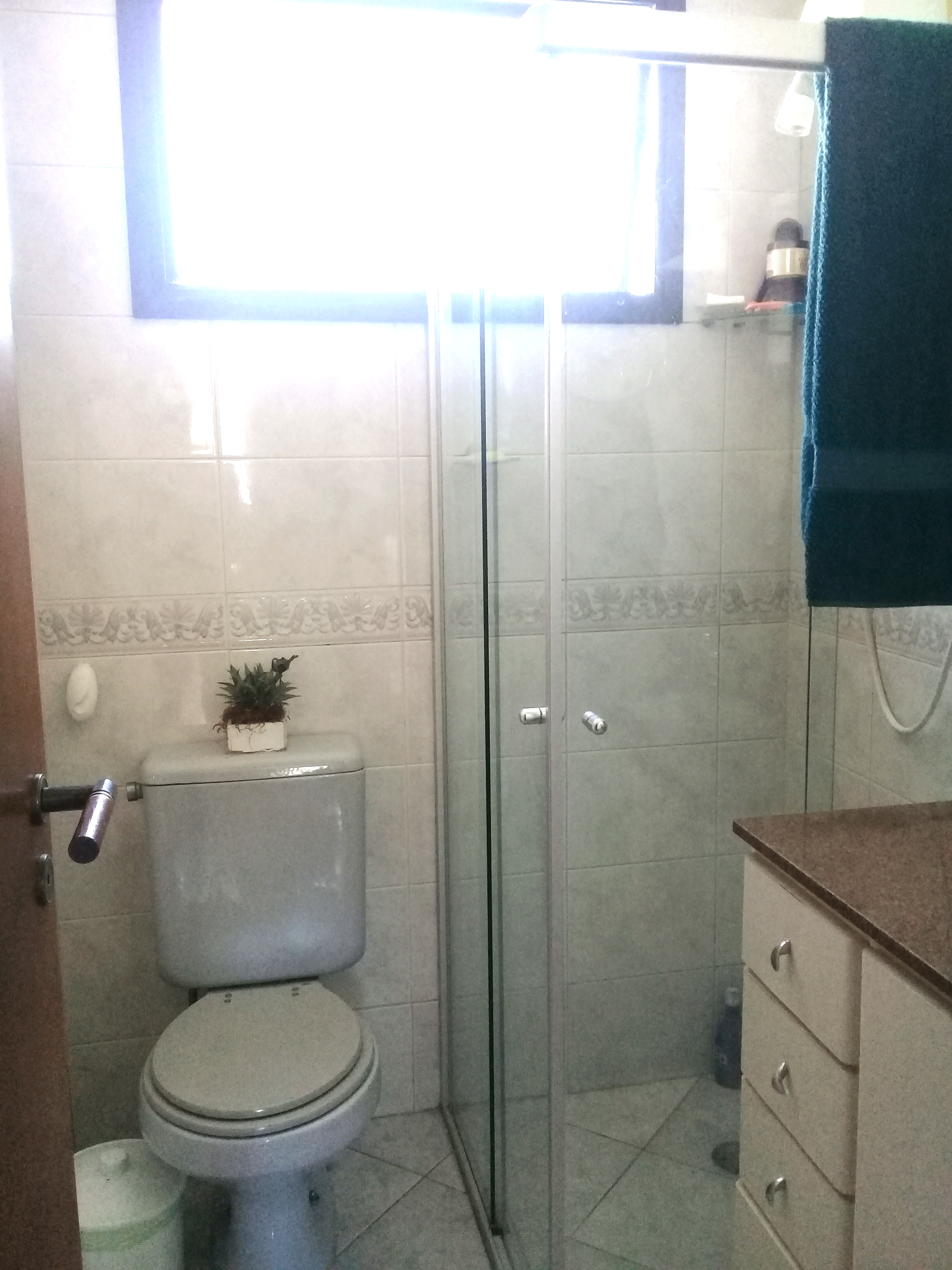 Ipiranga, Apartamento Padrão-Banheiro social com box de vidro e pia de granito com gabinete.