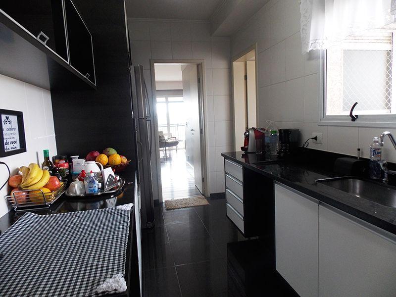 Jabaquara, Apartamento Padrão-Cozinha com piso de porcelanato, pia de granito com gabinete e armários planejados.