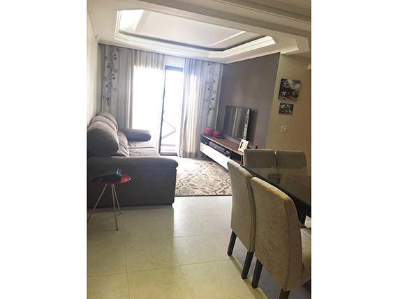 Sacomã, Apartamento Padrão - Sala em L com dois ambientes, piso de cerâmica, teto com sanca de gesso, iluminação embutida, cortineiro e acesso à varanda.