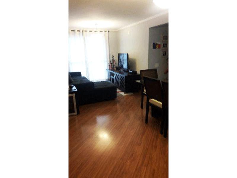 Sacomã, Apartamento Padrão - Sala retangular com piso laminado, teto com moldura de gesso e acesso a varanda.