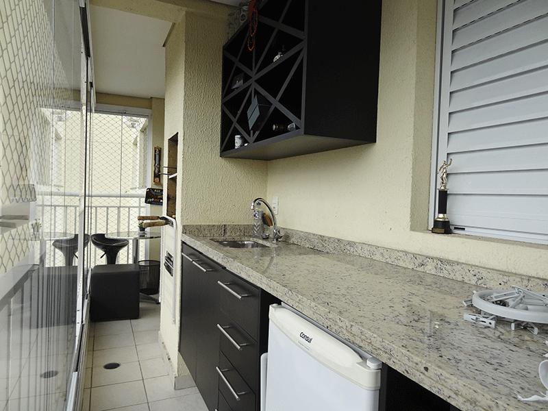Sacomã, Apartamento Padrão-Varanda gourmet com piso de cerâmica, teto rebaixado, iluminação embutida, pia de granito com gabinete, churrasqueira, tela de proteção e envidraçada.