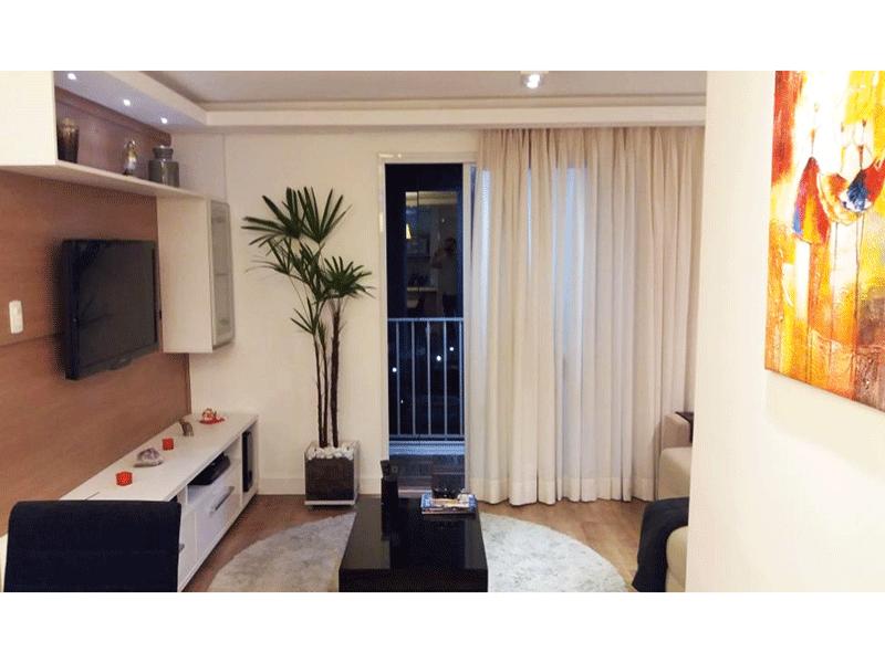 Sacomã, Apartamento Padrão - Sala em L com piso laminado, teto com sanca gesso, iluminação embutida e acesso para varanda gourmet.