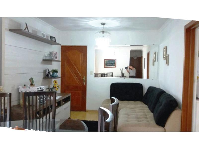 Sacomã, Apartamento Padrão - Sala com piso laminado, teto com moldura de gesso e painel de madeira.