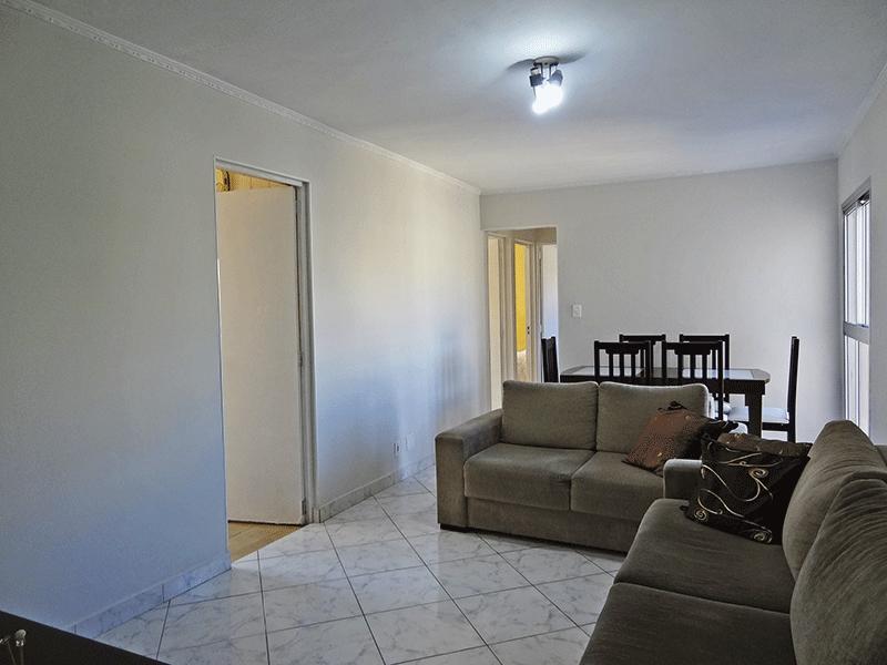 Sacomã, Apartamento Padrão - Sala retangular com piso de cerâmica e teto com moldura de gesso.
