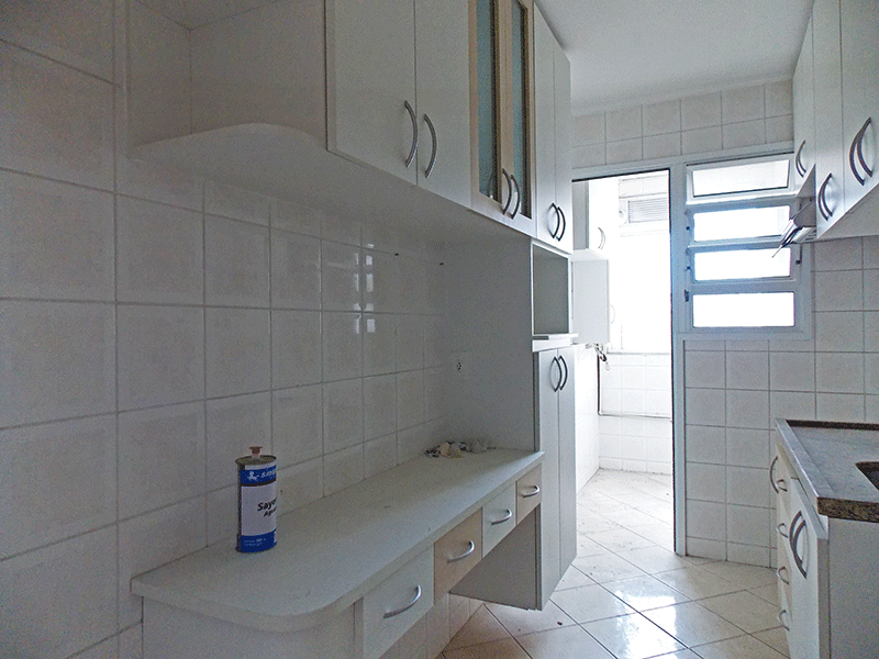 Sacomã, Apartamento Padrão-Cozinha com piso de cerâmica, pia de granito, gabinete, armários planejados e teto com moldura de gesso.