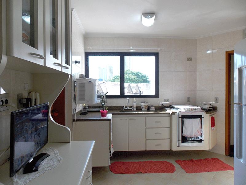 Ipiranga, Apartamento Padrão-Cozinha com piso de cerâmica, pia de granito, gabinete, armários planejados, teto com moldura de gesso e ventilação externa.