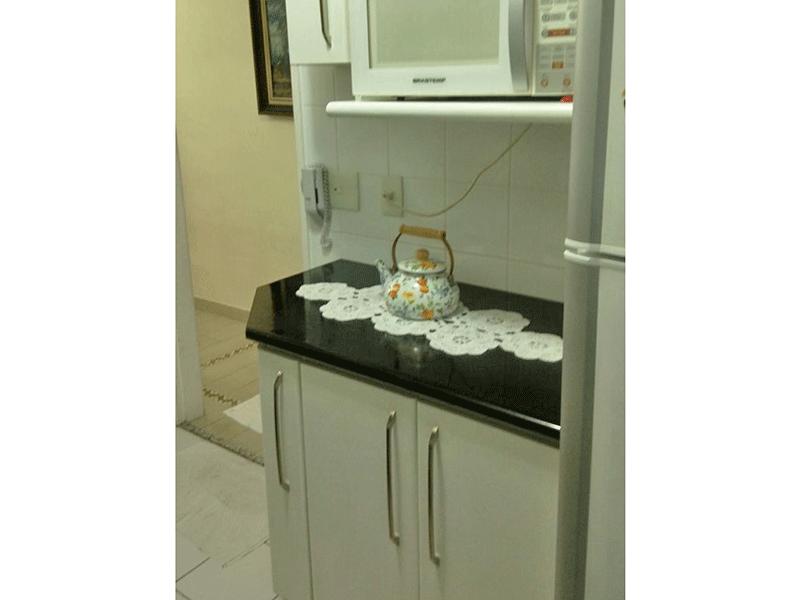 Ipiranga, Apartamento Padrão-Cozinha com piso de cerâmica, pia de granito, gabinete, armários planejados, teto com moldura de gesso e porta de alumínio na passagem para a área de serviço.