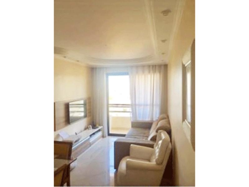 Sacomã, Apartamento Padrão - Sala com dois ambientes, piso de porcelanato, teto com sanca de gesso, iluminação embutida e acesso à varanda.