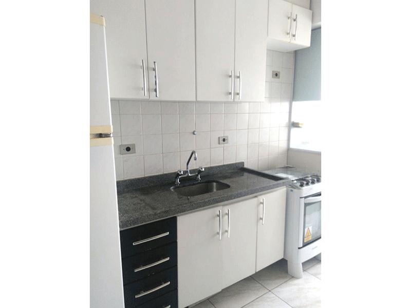 Sacomã, Apartamento Padrão-Cozinha com piso cerâmica, pia de granito e armários planejados.