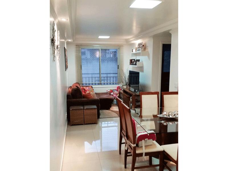 Jabaquara, Apartamento Padrão - Sala com dois ambientes, piso de porcelanato e teto com sanca de gesso com iluminação embutida.
