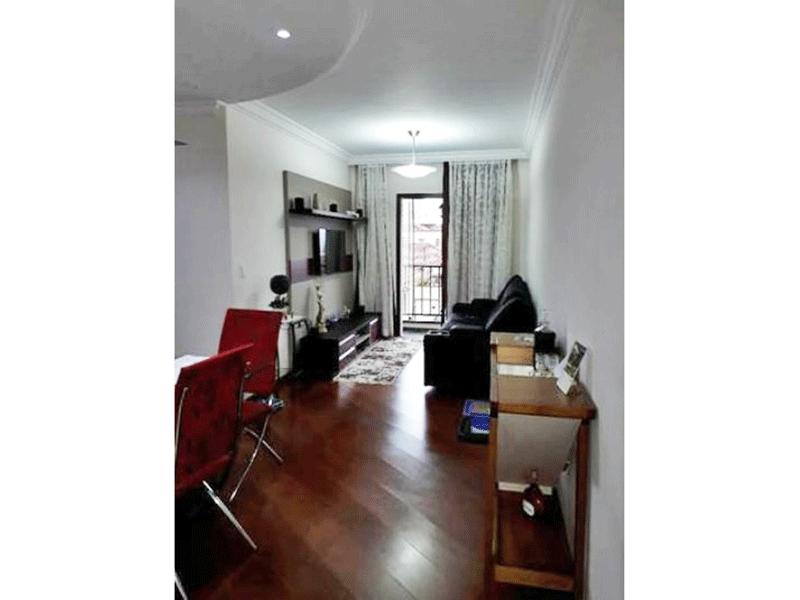 Ipiranga, Apartamento Padrão - Sala com dois ambientes, piso de madeira e teto sanca de gesso com iluminação embutida.