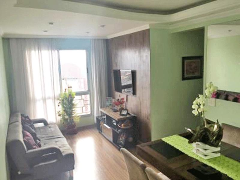 Sacomã, Apartamento Padrão - Sala com dois ambientes, piso laminado, teto sanca com moldura de gesso e iluminação embutida.