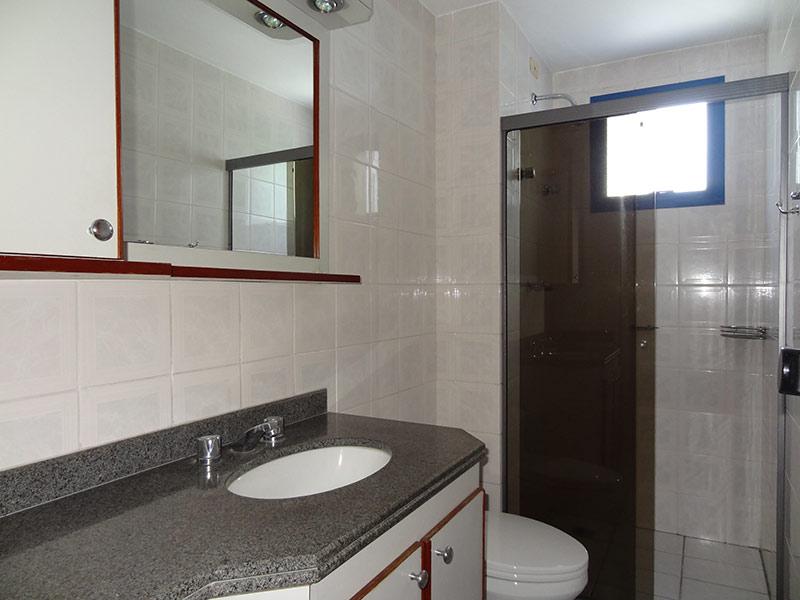 Ipiranga, Apartamento Padrão-Banheiro social com piso de cerâmica, pia de granito, gabinete e box de vidro.