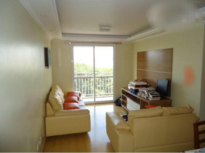Jabaquara, Apartamento Padrão - Sala com dois ambientes, piso laminado, teto com moldura de gesso e iluminação embutida.