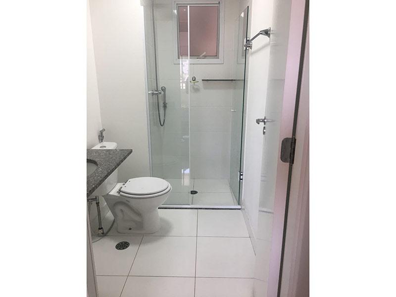 Ipiranga, Apartamento Padrão-Banheiro da suíte com piso de cerâmica, pia de granito, gabinete e box de vidro.