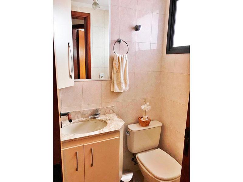 Ipiranga, Apartamento Padrão-Lavabo com piso de cerâmica, teto com moldura de gesso, gabinete e pia de mármore.