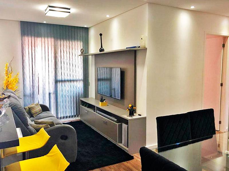 Sacomã, Apartamento Padrão - Sala com piso de lamina, teto com sanca, iluminação embutida e acesso a varanda gourmet.