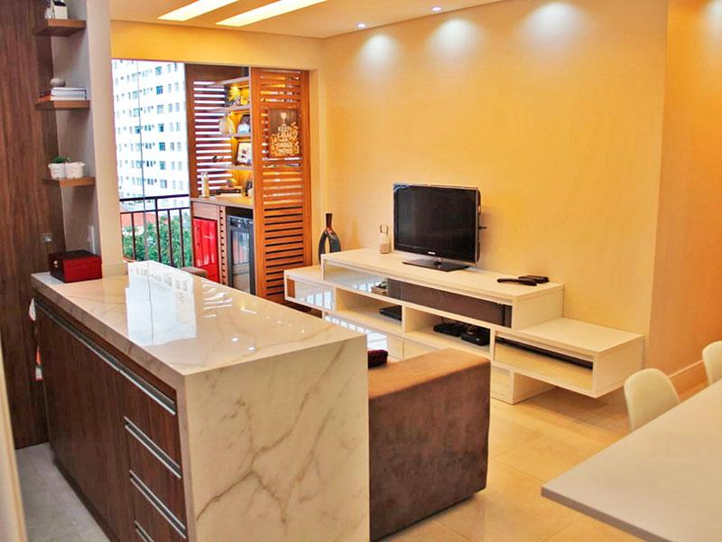 Ipiranga, Apartamento Padrão-Sala integrada com a varanda, com piso de porcelanato, teto com sanca e iluminação embutida.