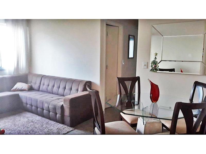 Sacomã, Apartamento Padrão-Sala em L com piso de cerâmica e teto com moldura de gesso.