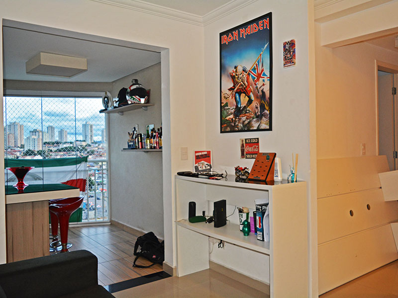 Ipiranga, Apartamento Padrão - Sala integrada com a varanda e com piso de porcelanato.