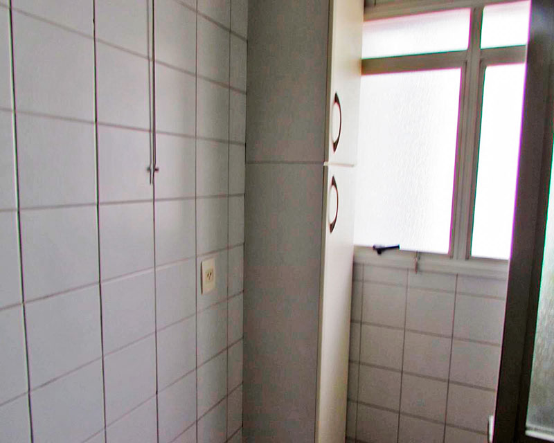 Ipiranga, Apartamento Padrão-Área de serviço com piso de cerâmica, teto com moldura de gesso e armários planejados.