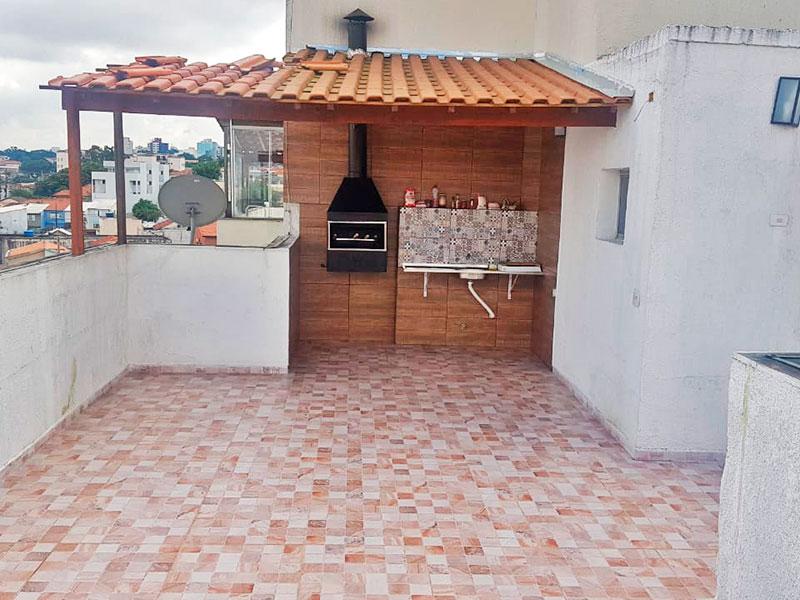 Jabaquara, Cobertura Duplex-Terraço com piso de cerâmica, churrasqueira e pia.