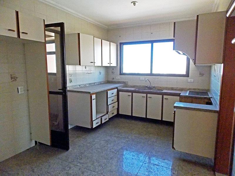 Ipiranga, Cobertura Duplex-Cozinha com piso de cerâmica, teto com moldura de gesso, armários, gabinete, pia de mármore e acesso a área de serviço.