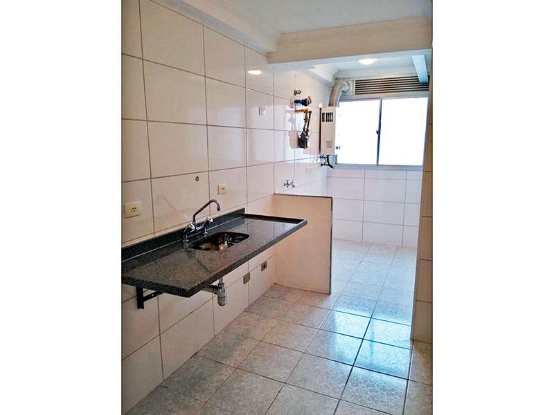 Sacomã, Apartamento Padrão-Cozinha integrada com a área de serviço, com piso de cerâmica, teto com moldura de gesso e pia de granito.